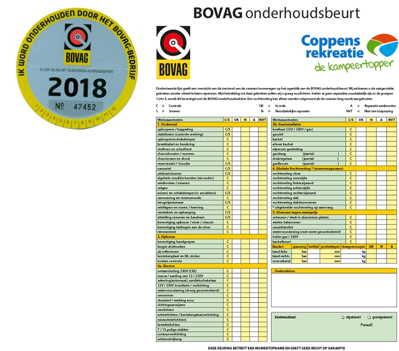Bovag onderhouds formulier 2018 coppens rekreatie